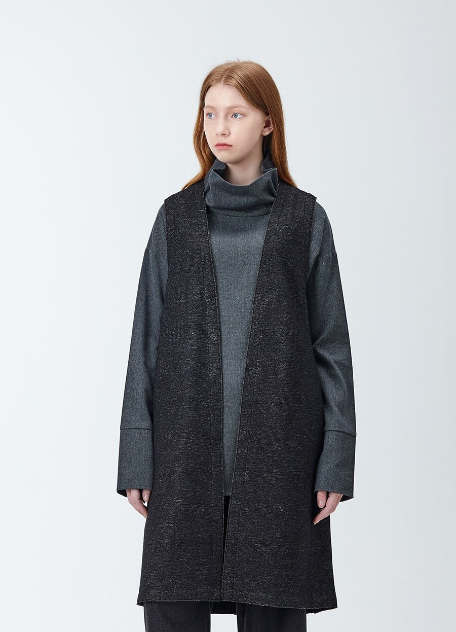 아유 AYU SOFT WOOL LONG VEST (ASH)